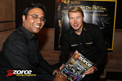 Narend chatting with 1999 Formula One World Champion, Mika Häkkinen, at Aura fir media launch of the Johnnie Walker Join the Pact initiative against Drinking and Driving.